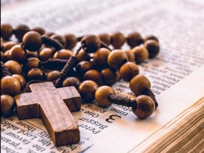 brown wooden beaded rosary